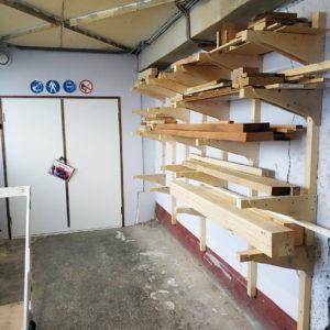 Хранение материалов в мастерской, как хранить дерево, стеллаж в мастерской Мой Цех